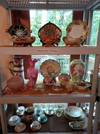 Beautifully hand painted china, mostly European, R. S. Prussia, Haviland, Hutschenreuther, Limoges, etc.
