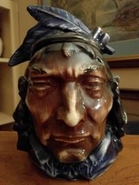 LOVE this McCoy Indian #93 cookie jar. You would think twice about stealing a cookie from this mo' fo'.