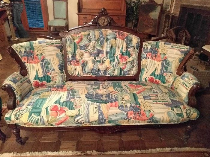 My eyes, my eyes!   :-(                                                              IF you can overlook the fabric, this is part of a 3-piece parlor set, of sofa and pair of chairs, by John Jeliff.