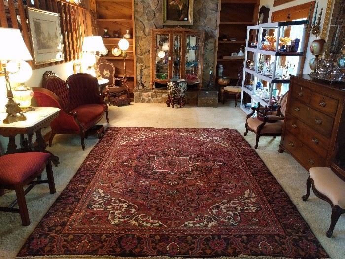 Nice view of the family room, Victorian furniture and the Persian Heriz, which measures 8' x 10'.