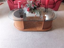 Mountain Oak coffee table with glass top