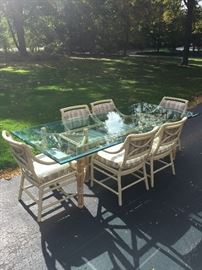 John Mcguire Glass Bamboo Table and Chairs