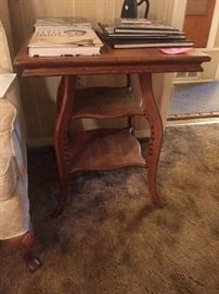 Antique oak lamp table, very old