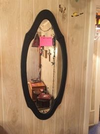 Antique black Wrought iron framed mirror, cool shape!