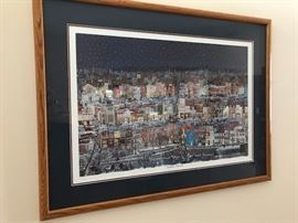"Beautiful art ""Georgtown Winterscape"" signed in the print and hand signed in the margin - H.T. Smith"
