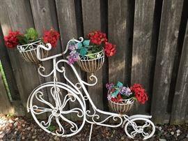 Cute metal bicycle plant holder