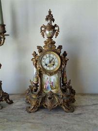 Louis XV bronze clock set