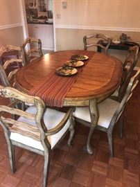 Country French Dining Table with 6 Chairs
