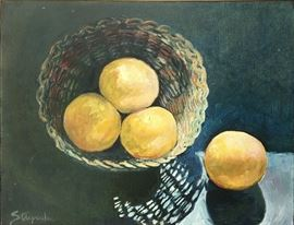 "'Four Grapefruit' 14"" x 18"" Oil on canvas Framed, $450"