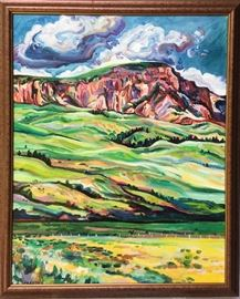 "'Buttes Beyond Hills' 30"" x 24"" Oil on canvas Framed in bronze mottled moulding $900"