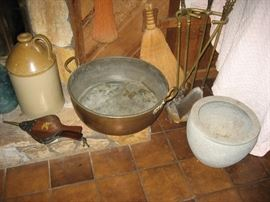 Large copper tub, crocks & more