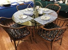 Fantastic Bamboo Glass Top Dinette