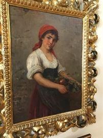 Antique Oil Painting- Italian Street Vendor
