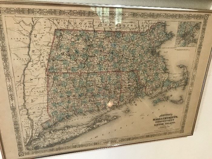 Antique Map of Massachusets, Rhode Island and Connecticut