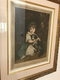 Antique Mezzotint by Fred Millar- Girl with Dog