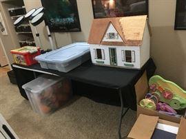 Doll house, toys, drum set