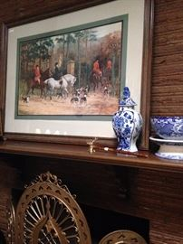 "Hunt scene art  (""Evening - Returning to the Kennels""); unique fire screen; some of the many blue & white selections"