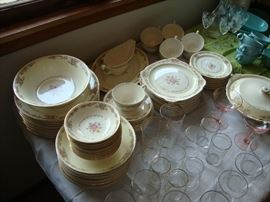 The Paden City Pottery Co. Delmar blossom set of china with serving pieces