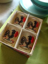 Libbey Par 4 rooster shot glasses