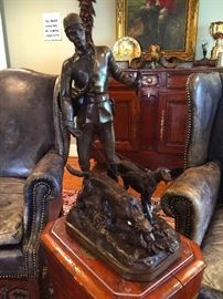 Bronze Huntsman Statue with Dogs. Aprox: 2'tall.