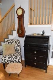 Howard Miller Pendulum Chime Clock, Pottery Barn Accent Chair, Pottery Barn Dropleaf desk