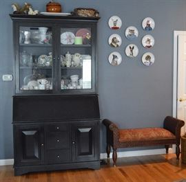 Pottery Barn Hutch with drop front desk.  Ethan Allen Bench