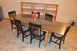 Pottery Barn made in Italy Stainless Steel and wood drop leaf table with chairs!  Stunning!