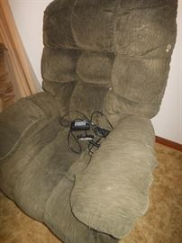 Over-stuffed lift chair in good condition/ photo appears faded/ chair is not