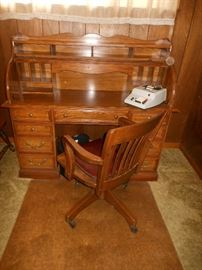 Roll top desk and oak office chair