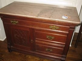"""Marble top wash stand - measures about 36"""" wide, 18"""" deep, 28"""" high"""