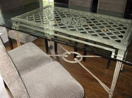 """Dining table - wrought iron base - beveled glass top - measures about 72"""" x 42"""""""