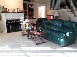Hancock & Moore Reclining Sofa, green studded recliner couch, living room