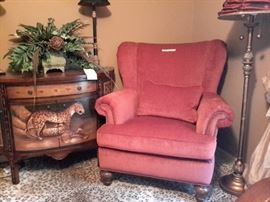 Karpen Red Chair, Leopard Side Table