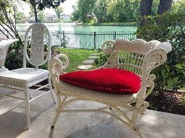 Victorian era wicker wedge chair