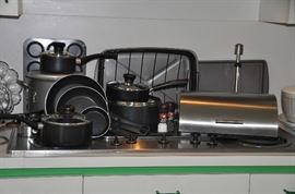 Terrific T-fal pots and pans and a great stainless bread box
