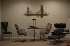 Jere sculptures, Mid Century Modern Sculptura chairs,  Plycraft recliner with ottoman