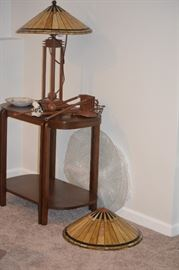2 Quoizel lamps, desk & matching ceiling hanging lamp