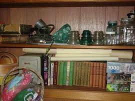 "Vintage insulators, books,iron,glassware- Mid Century ""Bobbsey Twins"" book series"