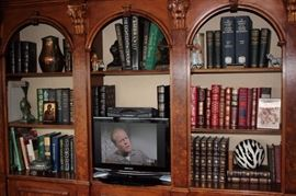 Multi Piece Wall Unit with Bookcases And Cabinets, with Books, Decorative Items and Flat Screen