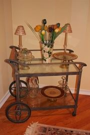 Bar Cart with Beautiful Art Glass