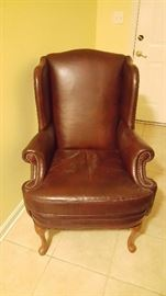 leather wingback chair - amber/brown color
