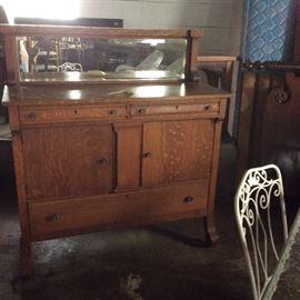 oak Buffet with beveled mirror