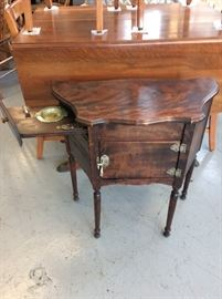 Gem of a smoking stand with pull out ashtray drawer and lined humidor.