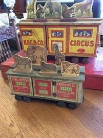 Circus Cars with wood cut out animals