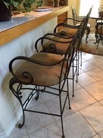 Set of 3 wood & wrought iron bar stools with upholstered seats, matches the dining room table and chairs