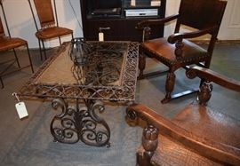 Glass-topped Wrought Iron Table; handmade in Mexico
