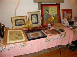 Framed Chinese fossils, antique Chinese embroidered fabrics, Chinese peasant painting