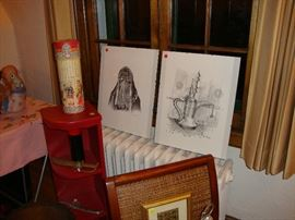 pencil drawings from Saudi Arabia, Chinese red painted corner bookcase
