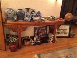 Antique Chinese camphor altar table with engravings of bats, blue and white porcelain, Chinese folk art paintings, Malcolm Myers Water Buffalo framed lithograph