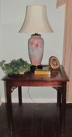 """Mahogany Square Occasional Side Table with Hand Painted Porcelain Ginger Jar Style Lamp with Silk Ecru Shade- 31""""H Overall"""